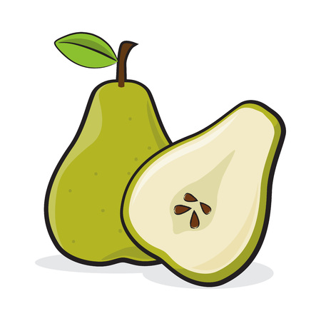Vector stock of sliced pears and a full pear fruit