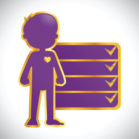growth chart: Vector stock of purple with golden outline of little boy body icon