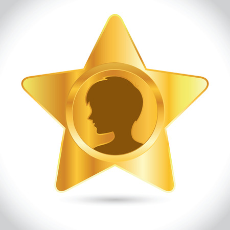 Vector stock of golden star icon with boy silhouette