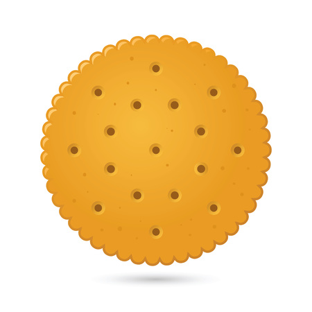 Vector stock of round biscuit cracker with simple gradients