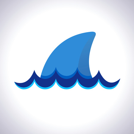 animal body part: Vector stock of shark fin with ocean waves icon symbol
