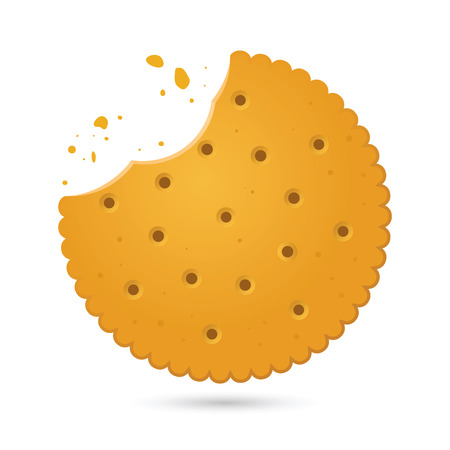 Vector stock of round biscuit cracker with bite marks and crumbles