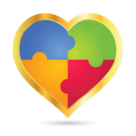 puzzle heart: Vector stock of  golden heart shape icon with colorful puzzle inside