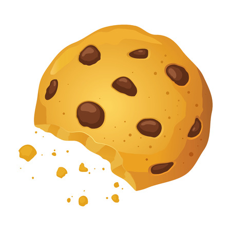 chocolate chip: Vector stock of a chocolate chip cookie with bite mark and crumbles Illustration