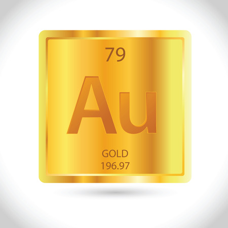 Vector stock of golden square with gold chemical element symbol Illustration