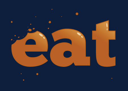 bite: Vector stock of eat word typography with bite mark Illustration