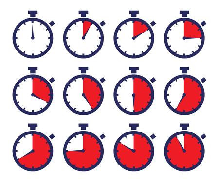 laps: Vector stock of sport chronometers icon in different time laps