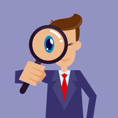 spotter: Vector stock of businessman looking through magnifying glass, focusing