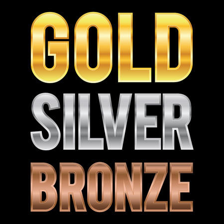 naming: Vector stock of gold silver and bronze metallic letters