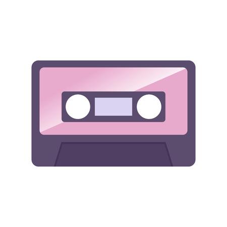 audio cassette: Vector illustration of simple vintage audio cassette icon Illustration