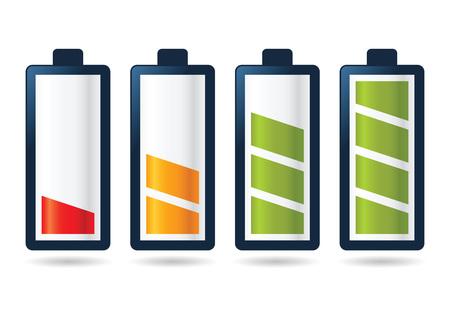Vector voorraad batterij pictogram levensstages van leeg naar volledig