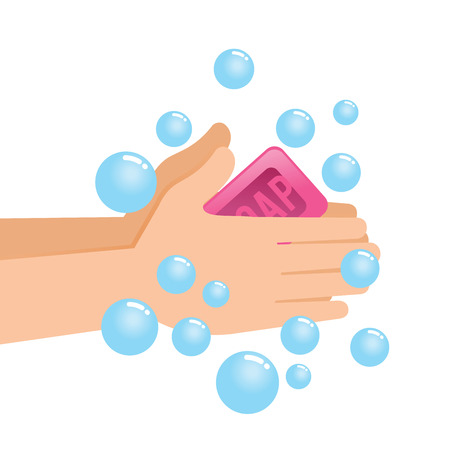 Vector stock of pair of hands washing using soap and bubbles  イラスト・ベクター素材