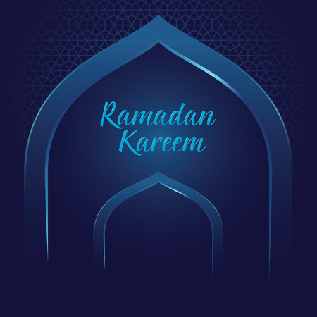 Vector stock of ramadan kareem with mosque gate and islamic pattern background