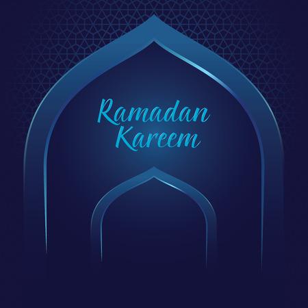 Vector stock Ramadan Kareem met moskee poort en islamitische patroon achtergrond Stock Illustratie
