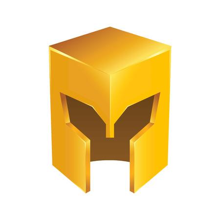 templar: Vector stock of golden shiny medieval knight helmet
