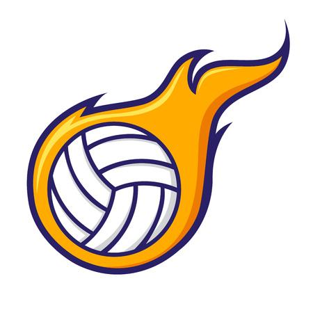 pelota de voley: Vector stock de voleibol con el símbolo llamas Vectores