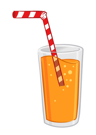 orange juice: Vector stock of a glass of fresh orange juice with straw Illustration