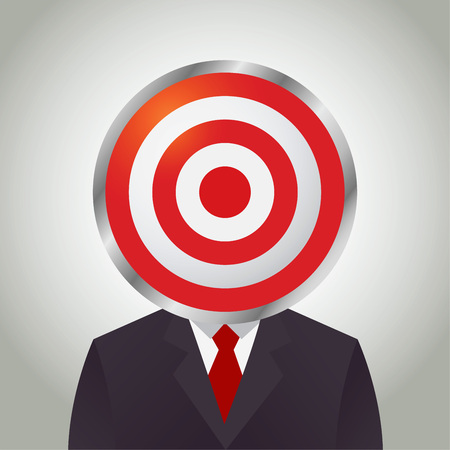shooting at goal: Vector stock of businessman with a target practice board as his head Illustration