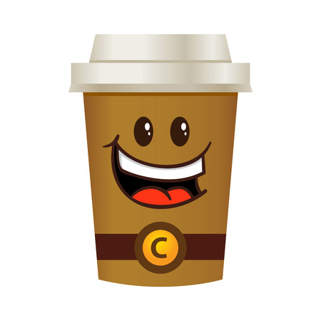 tall: Vector stock of happy coffee cup tall cartoon character Illustration