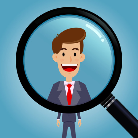 zooming: Vector stock of magnifying glass zooming on a  businessman