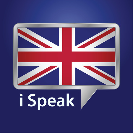great britain flag: Vector stock of Great Britain flag inside speech bubble, speaking English language