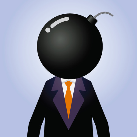 blow up: Vector stock of businessman with explosive as his head