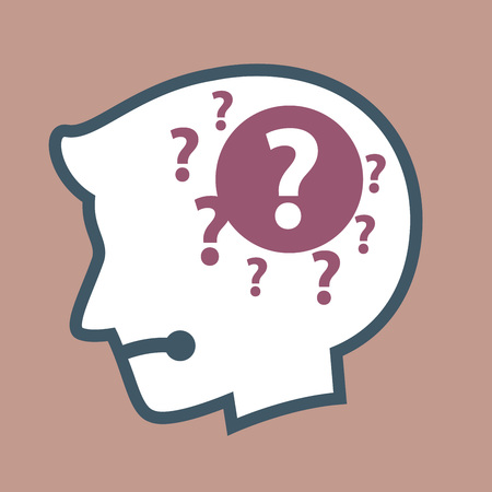 forgot: Vector stock of human head silhouette with question mark inside, confused