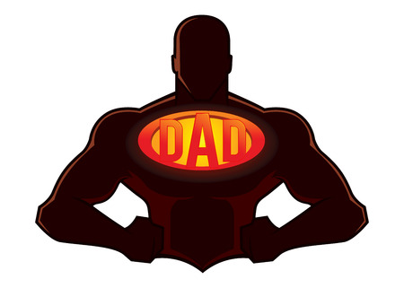Vector stock van sterke spieren super held silhouet met papa teken op zijn borst