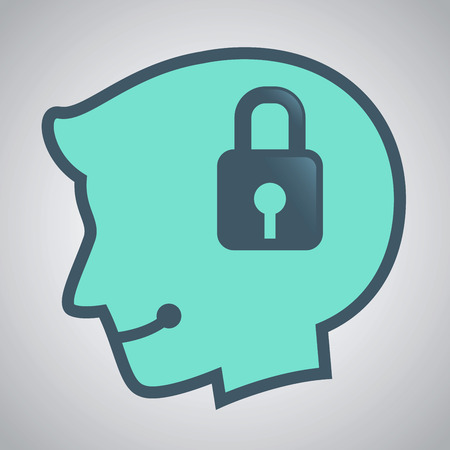 locked icon: stock of human head silhouette with padlock icon inside Illustration