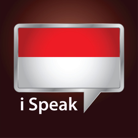 indonesian: Vector stock of Indonesia flag inside speech bubble, Speaking Indonesian language