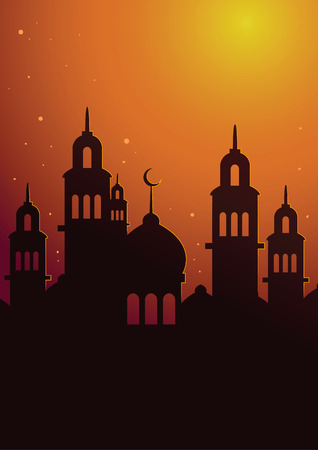religious celebration: Vector stock of islamic mosque silhouette in sunset sky poster background