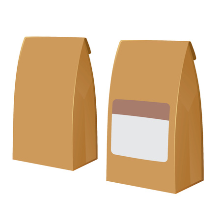 paper bags: Vector stock of two brown recyclable blank paper bags
