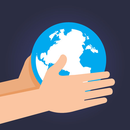 guarding: Vector stock of two hand holding and guarding planet earth Illustration