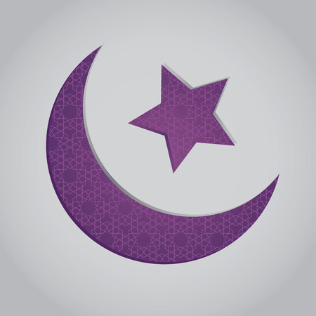 crescent: Vector stock of crescent moon and star shaped islamic symbol with patterns