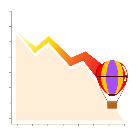 failed strategy: Vectors stock of declining business chart with hot balloon, failure business concept Illustration