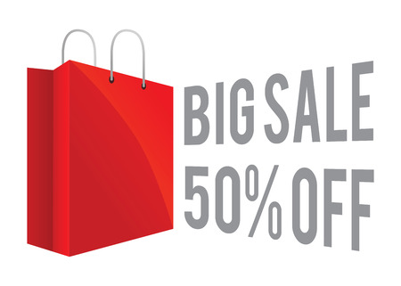 Vector stock of red shopping bag icon with big sale and discount sign