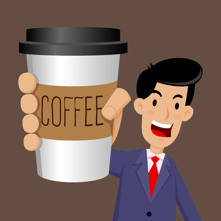 away travel: Vector stock of businessman holding a cup of coffee to go
