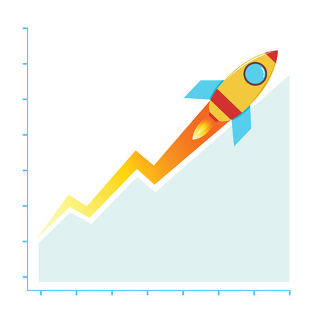 Vectors stock of growth business chart with rocket, success business concept Иллюстрация
