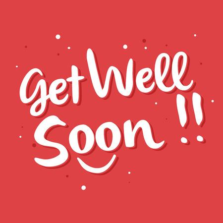Vector stock of get well soon lettering, handwritten typography