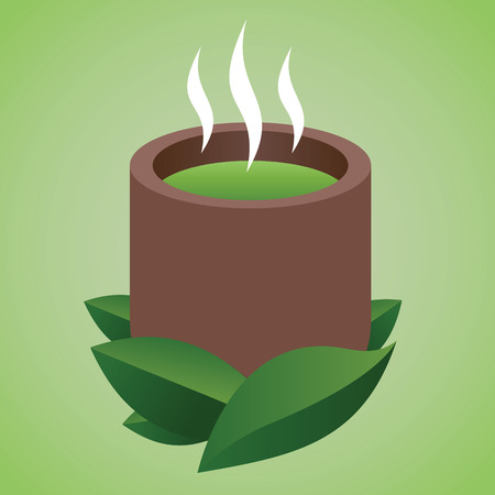 Vector stock of a cup of hot Japanese traditional green tea drink Illustration