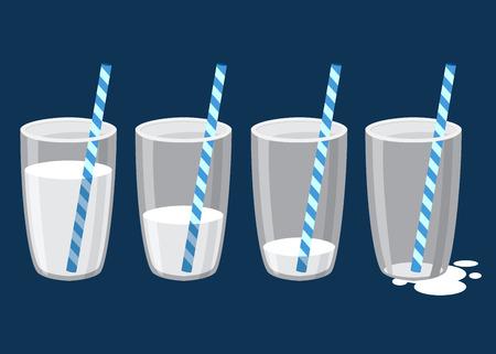 다른 마시는 단계에서 짚 우유의 유리의 벡터 stock