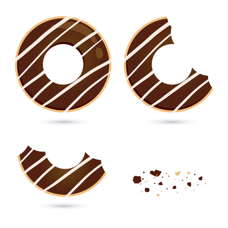 time lapse: Vector stock of chocolate flavored doughnut with different eating stages