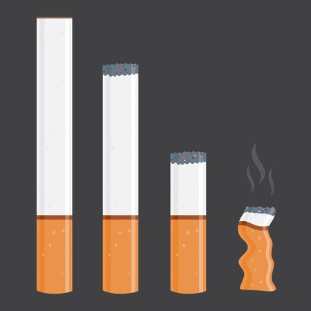 time lapse: Vector stock of cigarettes in different size, new and burnt Illustration