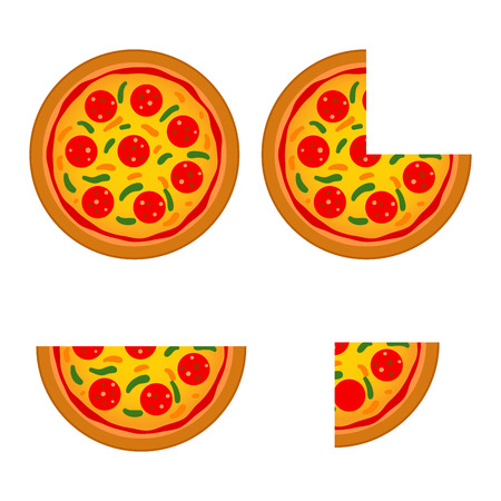 time lapse: Vector stock of italian pizza with different size and slice