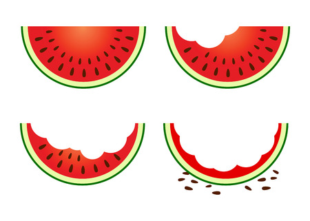 time lapse: Vector stock of a slice of  watermelon in different eating stages Illustration