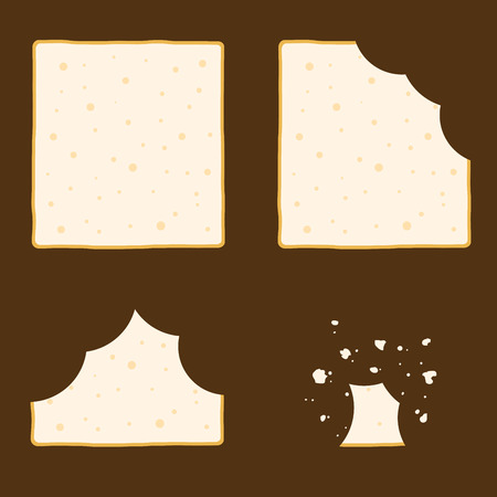time lapse: Vector stock of slice of bread in different eating stages