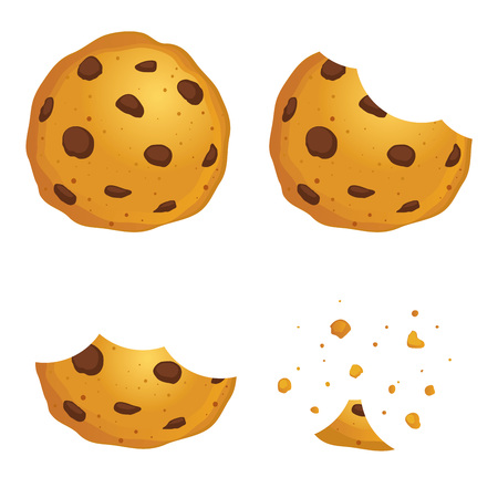 time lapse: Vector stock of  chocolate chip cookies in different eating stages