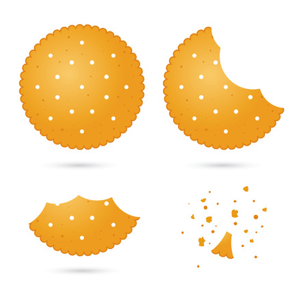 time lapse: Vector stock of biscuit cracker in different eating stages Illustration