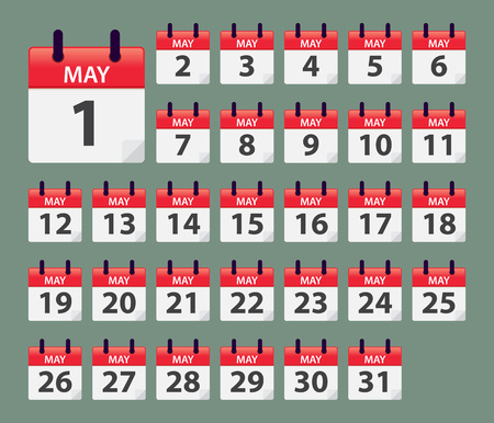 Vector stock of May Daily Calendar template icon collections