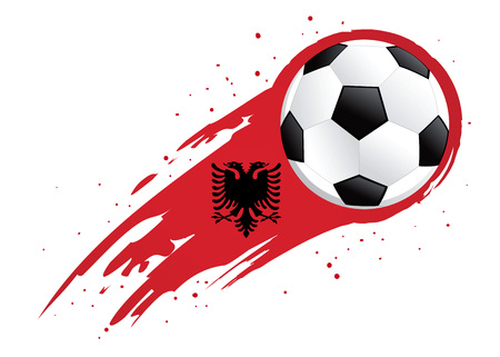 Vector illustration of a soccer ball with abstract Albania insignia brush strokes